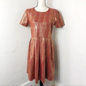 LuLaRoe Orange Metallic Amelia Dress XL